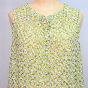 Liz Claiborne Sleeveless Sheer Top Green Print